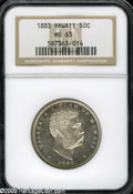 Coins of Hawaii: , 1883 50C Hawaii Half Dollar MS63 NGC. An uncommonly attractiveexample of this widely collected issue in the Hawaiian serie...