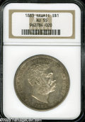 Coins of Hawaii: , 1883 S$1 Hawaii Dollar AU55 NGC. Well struck with scattered light patina, traces of wear on the higher design points, and a...