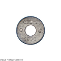 1850 P1C One Cent, Judd-119 Original, Pollock-134, Low R.6, PR63 PCGS. The obverse displays the denomination CENT at the...