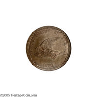 1858 P1C Flying Eagle Cent, Judd-203, Pollock-247, R.5, PR65 NGC. The obverse has a hook-necked eagle flying left with t...