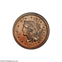 1863 3C Three Cents, Judd-319 Restrike, Pollock-384, R.5-6, PR66 Red and Brown NGC. The obverse is similar to the Braide...