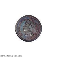 1868 5C Five Cents, Judd-632, Pollock-702, High R.7, PR65 Red and Brown NGC. The obverse closely resembles the contempor...