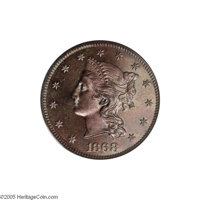 1868 $10 Ten Dollar, Judd-662, Pollock-735, 737, Low R.7, PR64 Brown NGC. The obverse features a left facing bust of Lib...