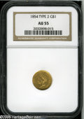 Gold Dollars: , 1854 G$1 Type Two AU55 NGC. Yellow-gold surfaces display traces ofluster in the protected areas. Weakness is noted on Libe...