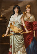 Decorative Arts, Continental, A Continental Allegorical Porcelain Plaque: Judith, late19th century. Marks to front: Dittrich. Marks to revers...