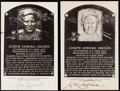 Autographs:Post Cards, Joe Cronin Signed Hall of Fame Plaque Postcard Collection (2).. ...
