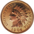 Proof Indian Cents: , 1904 1C PR65 Red Cameo PCGS. This bright yellow-gold example is accented with blushes of orange, and displays an unfathomab...