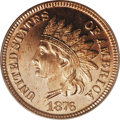 Proof Indian Cents: , 1876 1C PR65 Red Cameo PCGS. Bright, even copper-gold surfaces that show no variation in color or mellowing on either side....