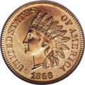Proof Indian Cents: , 1866 1C PR65 Red Cameo PCGS. The surfaces of this scarce cameo proof Gem are bright and deeply mirrored with gold-orange an...