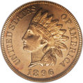 Proof Indian Cents: , 1896 1C PR65 Red Cameo PCGS. A cameo-like effect is established as the well struck devices on both sides are nicely set off...