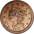 Proof Braided Hair Half Cents: , 1841 1/2 C Original PR64 Red NGC. B-1, R.6. Breen Die State III, with a lengthy slender crack that connects stars 3 to 6 an...