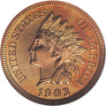 Proof Indian Cents: , 1903 1C PR68 Red NGC. A coin guaranteed to elicit instant oohs and aahs from delighted viewers. The pristine surfaces are y...