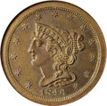 Proof Braided Hair Half Cents: , 1846 1/2 C Restrike PR63 Brown NGC. Second Restrike. Breen-3, R.6.Recognized as a Second Restrike by the Small Berries rev...