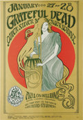 "Music Memorabilia:Posters, Grateful Dead ""Girl in the Red Circle"" Avalon Ballroom ConcertPoster, FD-45 Second Printing (Family Dog, 1967). A lighter ..."