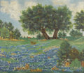 Texas:Early Texas Art - Impressionists, BEATRICE EMILINE MCBRIDE (MATTHAEI) (1898-1997). UntitledBluebonnet Landscape. Oil on artist board. 28in. x 32in.. Signedl...