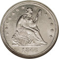 Seated Quarters: , 1846 25C MS64 NGC. The 1846 quarter was struck to the tune of510,000 business strikes. A somewhat scarce date, evidenced i...