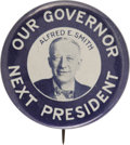 "Political:Pinback Buttons (1896-present), Al Smith: One of the Best 1928 Portrait Designs. This 1¾"" beauty isin pristine condition and beautifully centered. Only sev..."