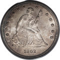 Seated Quarters: , 1862 25C MS67 PCGS. Among Seated Liberty quarters struck from 1838to 1865, just 24 pieces have been certified as MS67 by P...