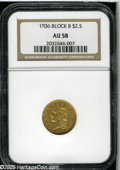 Classic Quarter Eagles: , 1836 $2 1/2 Block 8 AU58 NGC. McCloskey-C, Head of 1837, Breen-6144, R.2. A slightly subdued golden-brown example with ampl...