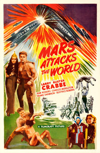 "Mars Attacks the World (Filmcraft, R-1950). One Sheet (27"" X 41"") Feature Version of Flash Gordon's Trip to Ma..."
