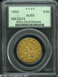 Liberty Eagles: , 1850 $10 Small Date AU50 PCGS. Considerably scarcer than its LargeDate counterpart, the Small Date of 1850 is very elusive...