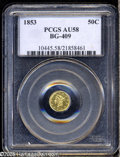 California Fractional Gold: , 1853 50C Liberty Round 50 Cents, BG-409, R.3, AU58 PCGS. Withboldly impressed features and semi-prooflike luster, this exa...