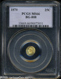 California Fractional Gold: , 1870 25C Liberty Round 25 Cents, BG-808, R.4, MS66 PCGS. A nicelystruck and exceptionally clean piece with undisturbed mil...