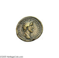 Ancients:Roman, Ancients: Antoninus Pius. A.D. 138-161. Æ sestertius (36 mm, 25.79g). Rome, A.D. 140-144. Laureate head right / Antoninus Pius andMa...