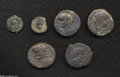 Ancients:Roman, Ancients: Lot of six procuratorial and city coins from Judaea. Includes: Pontius Pilate (2) // Askalon. Domitian (2) // Askalon. Vespa... (Total: 6 coins Item)