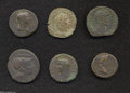 Ancients:Roman, Ancients: Lot of six Roman AE. Includes: Republic. Triens //Augustus. Dupondius // Tiberius. As // Trajan. As // AntoninusPius. Sest... (Total: 6 coins Item)