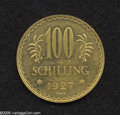 Austria: , Austria: Republic gold 100 Schilling 1927, KM2842, prooflike BU,minor hairlines. From the Dr. Kurt Peters Collection....