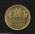 Austria: , Austria: Republic gold 100 Schilling 1927, KM2842, nice prooflikeBU. From the Dr. Kurt Peters Collection....