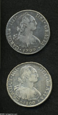 Chile: , Chile: Carlos IIII 8 Reales - Two Pieces, KM51, 1799-DA, nice tonedF-VF, and 1800-AJ, lightly cleaned VF, softly struck but with s...(Total: 2 coins Item)