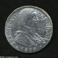 Chile: , Chile: Ferdinand VII 8 Reales 1809-FJ, KM68, Imaginary MilitaryBust, XF-AU, very bold strike, harshly cleaned and polished,repair...