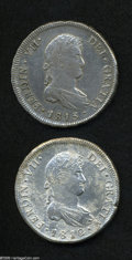 Chile: , Chile: Ferdinand VII 8 Reales - Pair, KM80, 1812-FJ, XF-AU details,but harshly cleaned with pitted surfaces, and 1813-FJ, XF, some...(Total: 2 coins Item)