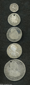 Colombia: , Colombia: Carlos IIII Silver Minors, KM63 1/4 Real 1801-NR, niceAVF, KM57 1/2 Real 1792NR-JJ, toned Fine, holed, KM58 Real1793NR-JJ,... (Total: 5 coins Item)