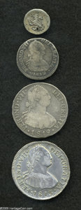 Colombia: , Colombia: Ferdinand VII Silver Minors, KM67.2 1/4 Real 1816-Pn,Fine, tiny hole, KM68.1 Real 1812NR-JF, toned VG+, KM70.1 2 Reales181... (Total: 4 coins Item)