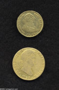 Colombia: , Colombia: Spanish World Gold Tandem, Colombia 2 Escudos 1780/79-NR-JJ KM49.1, decent VG, light obverse scratch, and Spain 4 Escudos 18... (Total: 2 coins Item)