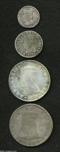 Colombia: , Colombia: Provisional-Cundinamarca Silver Quartet, KM-B9 Real1821Ba-JF, Fine, oxidation and planchet flaws, KM-C5 2 Reales1821Ba-JF,... (Total: 4 coins Item)