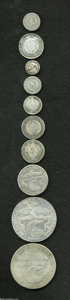 Colombia: , Colombia: Republic Early Silver Types, ten coins featuring: KM88.11/2 Real 1834B-RS, nice VG, KM87.1 Real 1833B-RS, Fine, KM90.1 1/4... (Total: 10 coins Item)