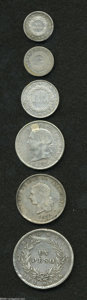 Colombia: , Colombia: Granadine Confederation Silver Types, KM125, Decimo1859B, choice VF+, minor edge bruise on the reverse, KM134 2 Reales1862... (Total: 6 coins Item)