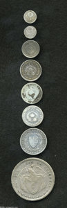 Colombia: , Colombia: Estados Unidos de Colombia Early Silver Types, eight coins including: KM143.1a 1/4 Decimo 1871B, nice VF+, tiny spot, KM143.... (Total: 8 coins Item)