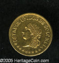 Colombia: , Colombia: Estados Unidos gold Peso 1863 Medellin, KM146.1, boldXF+, lightly cleaned with some patination remaining on the reverse.Sc...