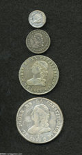Ecuador: , Ecuador: Republic Libertad Bust Types, four attractive coins featuring: KM36 1/4 Real 1856-GJ, lightly cleaned VF-XF, scarce grade, K... (Total: 4 coins Item)