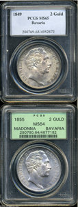 German States:Bavaria, German States: Bavaria. A pair of Maximilian II 2 Guldens asfollows: 1849, KM446, MS65 PCGS, lightly toned; and an 1855,Restoration of th... (Total: 2 Coins Item)