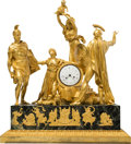 Timepieces:Clocks, A Rare and Large Pierre-Philippe Thomire Empire Gilt Bronze andVerde Antico Marble Allegorical Mantel Clock Depicting the ...