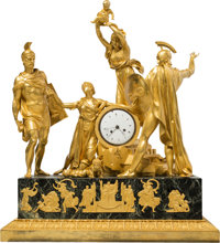 A Rare and Large Pierre-Philippe Thomire Empire Gilt Bronze and Verde Antico Marble Allegorical Mantel Clock Depicting t...