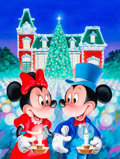 Animation Art:Production Drawing, Mickey and Minnie Mouse Holiday Painting (Walt Disney, c.1990s)....
