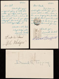 Autographs:Post Cards, 1952-53 Baseball Greats Signed Government Postcard Lot of 3 withGriffith, Hodges, & Topping.. ...
