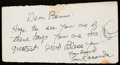 Autographs:Index Cards, Tommy Lasorda Signed Note to Beans Reardon, from the Beans Reardon Collection. . ...